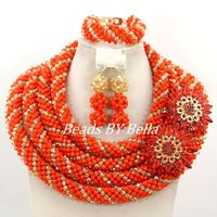 New Orange Gold African Beads Jewelry Set Crystal Beads Necklace Nigerian Wedding Bridal Jewelry Set Free Shipping ABY864