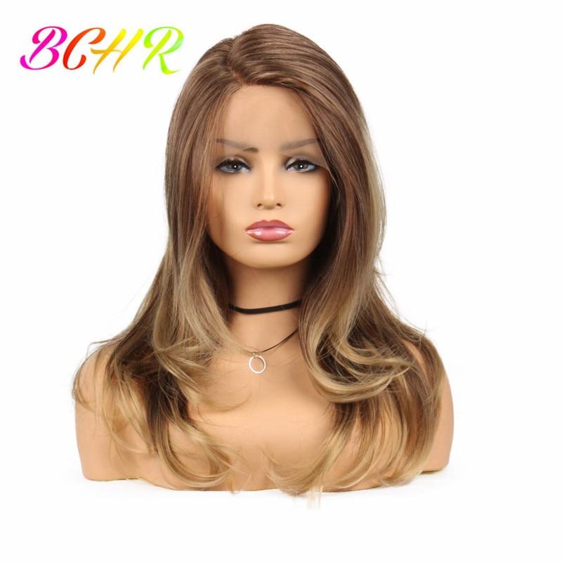 BCHR marrón sintético largo frente pelucas con peluca natural del - Cabello sintético