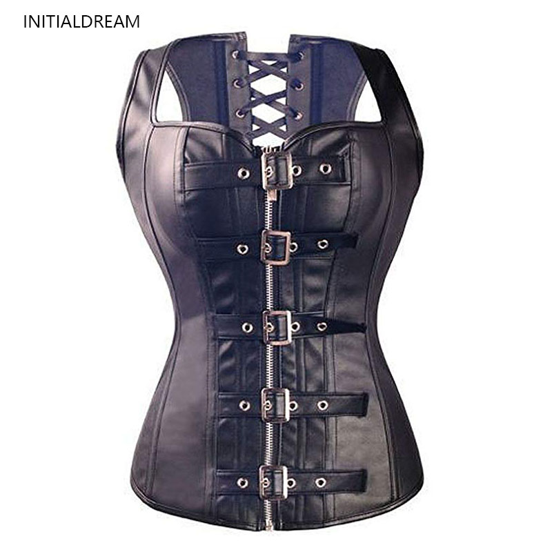 Waist Trainer Women's Body Shaper Top Lace-up Leather Corset Gothic Steampunk Abdomen Shaping Tights Slim Shapewear Corset