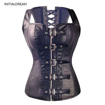 Waist Trainer Women's Body Shaper Top Lace-up Leather Corset Gothic Steampunk Abdomen Shaping Tights Slim Shapewear Corset - DISCOUNT ITEM  0% OFF All Category