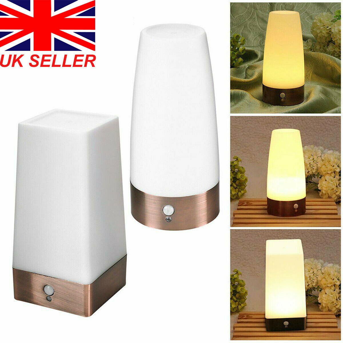 Wireless PIR Motion Sensor LED Night Light Battery Powered Table Lamp For Home