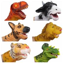 2016 Soft Vinyl PVC Dinosaur Tiger Lion Cow Dog Hand Puppet Gloves Animal Head Figure Children Toy Model Gift