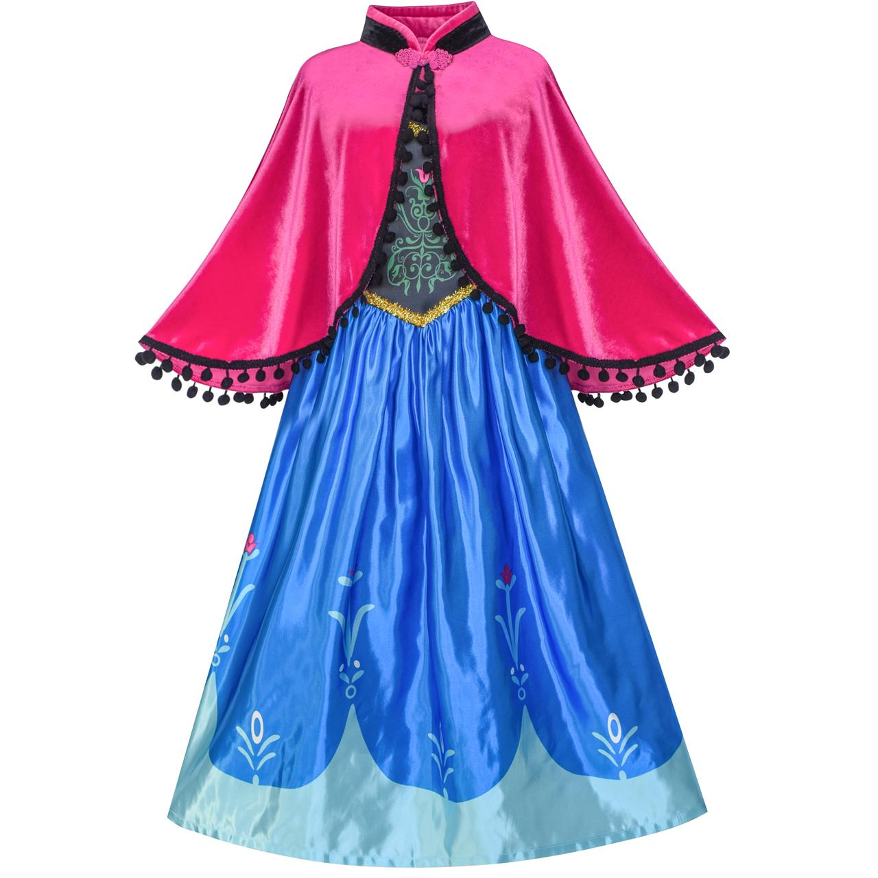 Princess Dress Anna Costume Dress Up Cosplay Cloak Snowflake 2018 Summer Wedding Party Dresses Kids Clothes Size 5-12 Pageant dimension w mira yurizaki cosplay costume custom any size