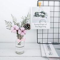Сухой цветок Набор DIY естественно стебли дом декоративные сушеные белый хлопок ветка искусственный цветок голова реквизит для фотосессии