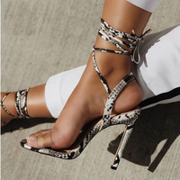 VANGULL Ankle Strap Cross tied Women Sandals High Heels Sexy Snakeskin grain Lace Up Sandals High Quality Shoes