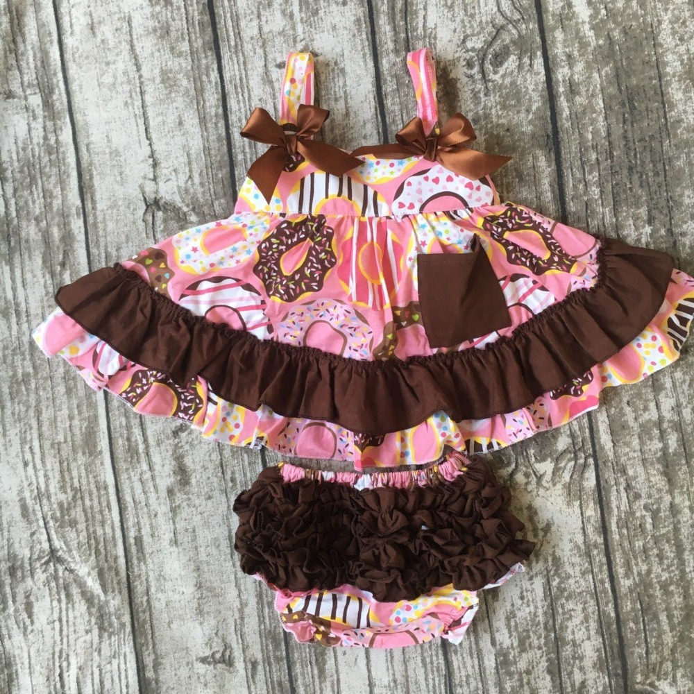 girls summer cotton clothing girls doughnut swing top outfits baby kids top with ruffle bloomer infant