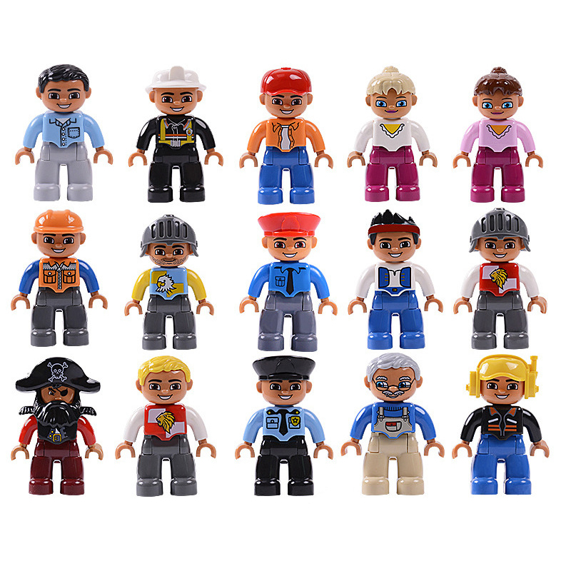 Big Size Action Figures City Princess Pirate Policemen Family Series  Building Blocks Compatible Brand Duploes Education Toys
