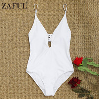ZAFUL 2018 Cami One Piece Swimsuit Women High Leg Swimsuit Low Back Macrame White Swimwear Sexy