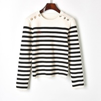2018 New Thick Winter Sweater Women Wool Pullover Block Stripe Jersey Knitted Sweaters Shoulder Buttons Runway Jumper pull femme