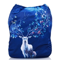Mumsbest 1PC New Hot Release Digital Printing Moose Baby Cloth Diapers Elk Nappies Wapiti Unique