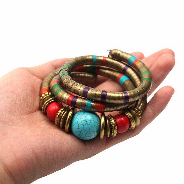 Fashions Vintage decoration For Women Girls Tibetan Bracelets & Bangles Inlay Roundness Bead Adjust Bangle wholesale