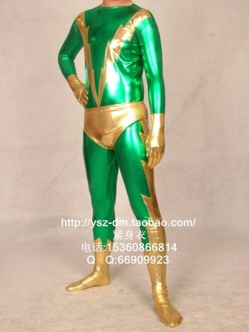 Green & Gold Shiny Metallic Zentai Superhero Costume Set Halloween party costumes