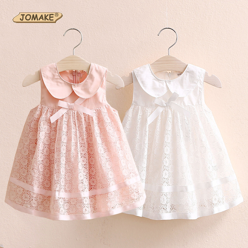 Girls Dress 2017 New Summer Style Baby Girls Dresses Sleeveless Peter Pan Collar Bow Lace Princess Dress 2-10Y Cute Kids Clothes 2 8y korea style cute bow belt sleeveless round collar assorted color performing dress layered dress girl evening dress