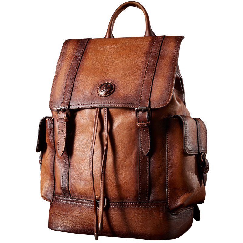 лучшая цена Men Cow Leather large capacity backpack travel bag Classic business backpack Side can be opened Pentagram Schoolbag