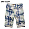 Hombres Causal Plaid Loose Fit Baggy Cargo Shorts Multi-bolsillo Entrenamiento Militar Playa Junta Shorts Fashion Longitud de La Rodilla de gran Tamaño