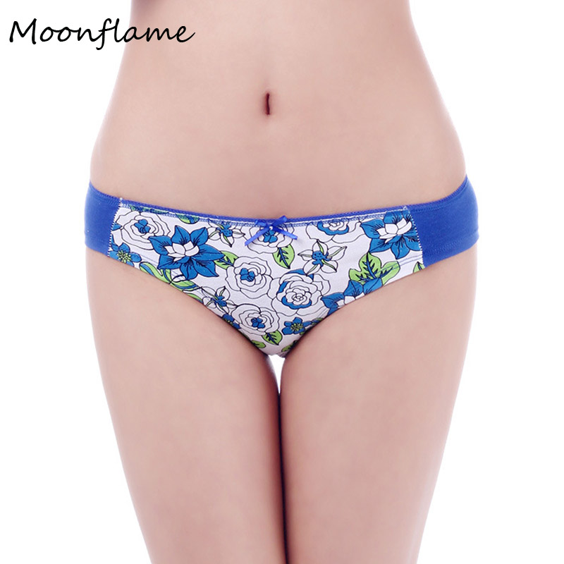 Moonflame Hot Sale 2019 Everyday Floral Printed Cotton Women Briefs   Panties   86681
