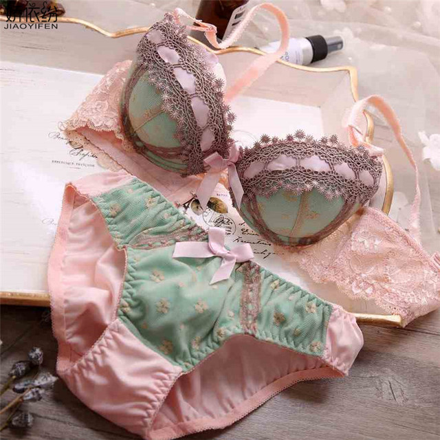 850ae06d59b1b JYF Hot Sale Women Underwear Set Sexy Lace Embroidery Push Up Bra Set Young  Girl 3 4 Cup Three-row Lingerie Brassiere Sets