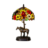 Pure Copper American Rustic Art Deco Stained Glass Gold Horse E27 Bed Table Lamp,Animal LED Green Desk Light Living Drawing Room