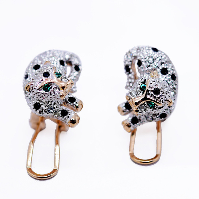 Fashion Lying On Leopard Stud Earrings Green Eyes Unique Element Quality Jewelery Gift In Box Alw1565