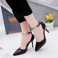 O envio gratuito de strass primavera saltos finos pontas do dedo do pé balde de alta-sapatos de salto alto tornozelo confortável boca rasa sapatos único
