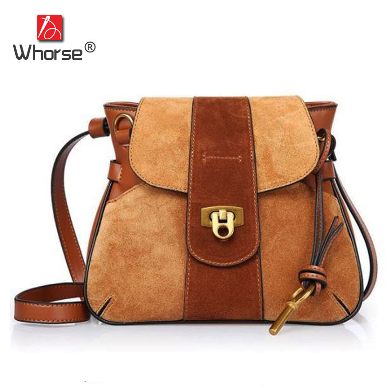 [WHORSE] Brand Luxury Vintage Genuine Leather Messenger Bags Women Cowhide Scrub Retro Shoulder Crossbody Bag With Lock W08490 [whorse] brand luxury fashion designer genuine leather bucket bag women real cowhide handbag messenger bags casual tote w07190