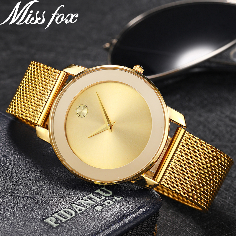 Miss Fox Ladies Gold Watch Women Famous Brand Minimalist Steel Mesh Simple Geneva Watch Women Waterproof Xfcs Role Quartz Watch carnival iw authentic ladies watch quartz watch steel mesh with noble women s watch waterproof ultra thin simple women s watch