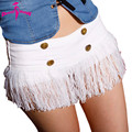 Summer 2017 Nightclub Style White Mini Denim Shorts Sexy With Tassel Low Waist Jeans Shorts For Pole Danceing Feminino