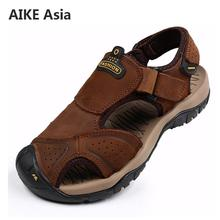 Brand Genuine Leather Men Shoes Summer New Large Size Men's Sandals Men Sandals Fashion Sandals Slippers Big Size 38-45