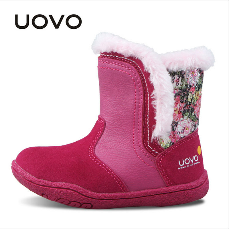 New 2018 Fashion UOVO Little Girls Boots Faux Fur Plush Kids Boots Warm Comfortable Girls Snow Boots for Toddler baby Girl shoes uovo brand kids spring autumn new sport shoes for girls green color casual sneakers kids fashion canvas shoe zapatos eu 30 37