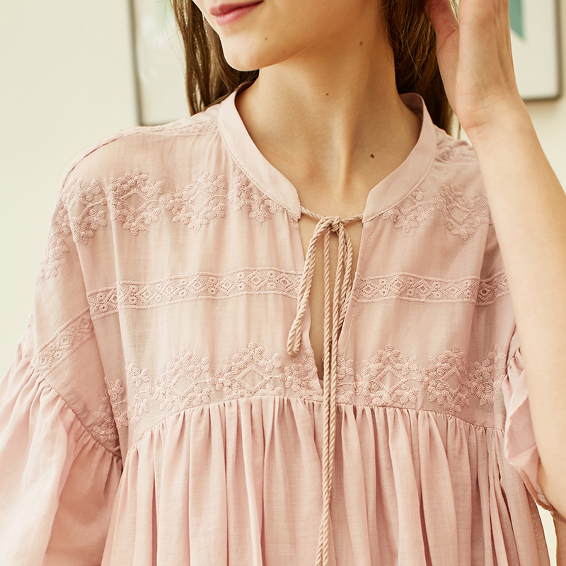 Vero Moda 19 New Women's Royal National Style Embroidered Flared Sleeves Comfortable Homewear Dress | 31917B508 11