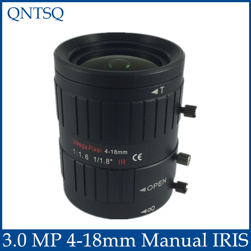 3MP. Lens to meet HD network cameras  4-18mm Manual Iris lens 1/1.8 c mount F1.6 CCTV Lens.CY-c0418mm-3MP qhy5l ii c imager guider cameras with free a 8mm cctv lens