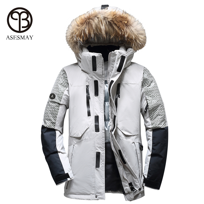 Asesmay 2017 men winter jacket thick warm white duck down coat high quality brand clothing goose casual wellensteyn mens parka