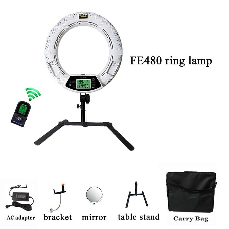 Yidoblo18'' makeup ring light FE 480II  Bi color LED Ring Light Macro Photographic Video Lights 110 220v  stand|Photographic Lighting| |  - title=