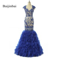 Elegant Luxury Sweetheart Appliques Crystal Bead Formal Evening Gowns 2016 Real Photo Vestidos Long Mermaid Evening