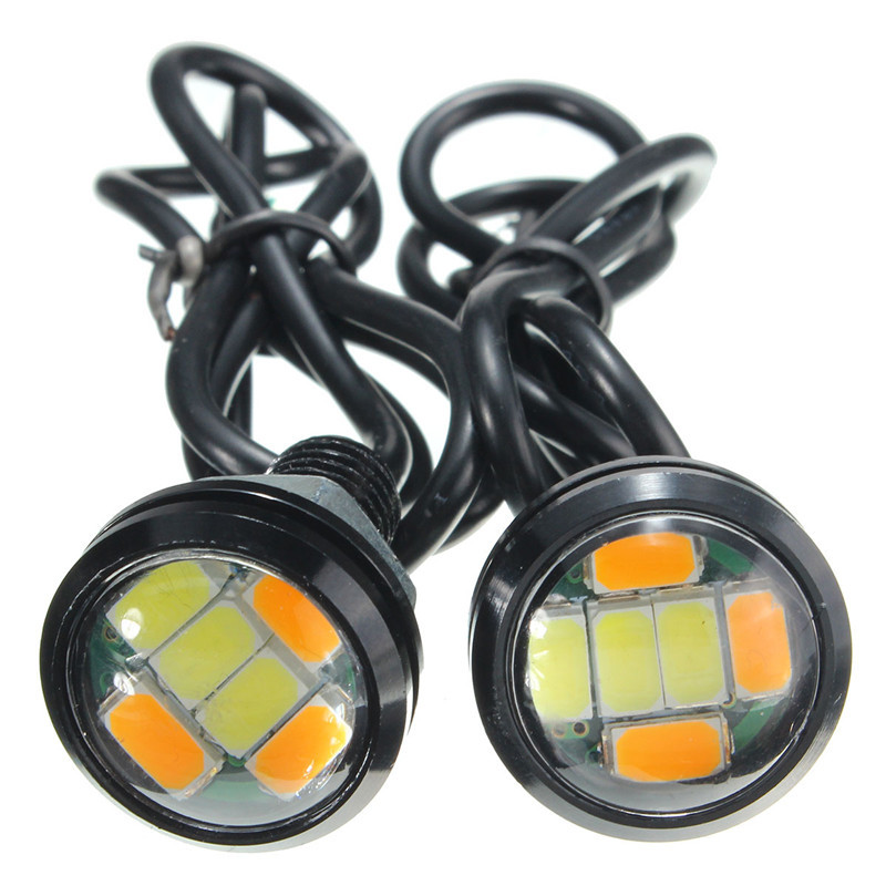 2pcs 5730 120LM 6 SMD 2.5W 23mm Auto Car Eagle Eye Dual Color DRL LED Daytime Running Dual Color Light Bulb Lamp Weatherproof new arrival a pair 10w pure white 5630 3 smd led eagle eye lamp car back up daytime running fog light bulb 120lumen 18mm dc12v