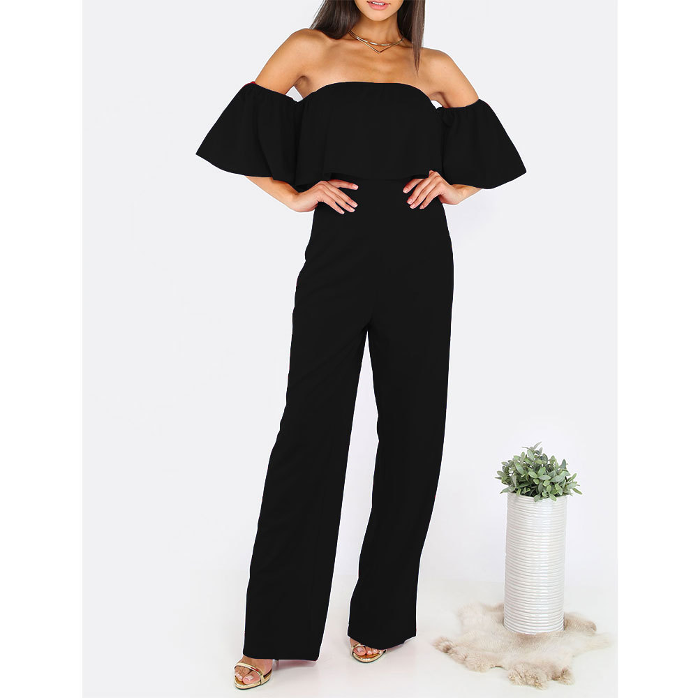 Sexy Jumpsuit Black Strapless Long Pants For Party Long Jumpsuits For Women Club Wear 2017 Women Clothing Nightclub