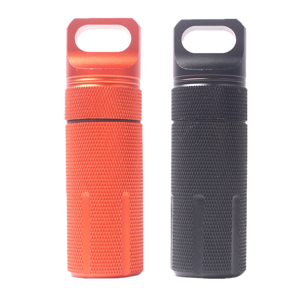 New Waterproof Aluminum Pill Box Case Bottle Holder Outdoor Container Keyring easy to carry waterproof design outdoor camping