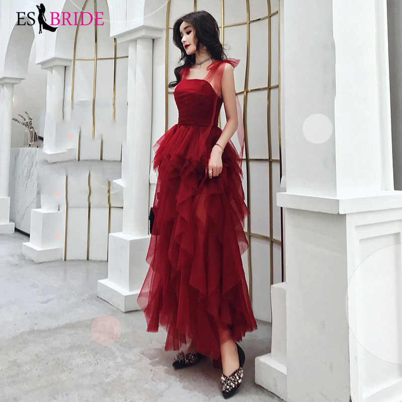 Красное женское вечернее платье, студенческие вечерние платья, длинные сексуальные платья без рукавов 2019, длинные платья для особых случаев ES2486