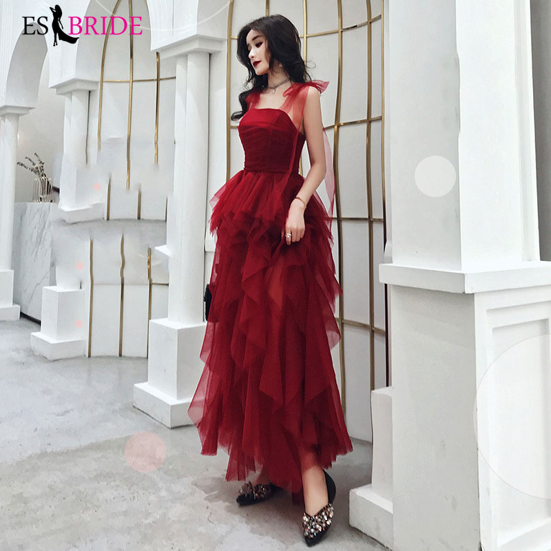 Red Women Formal   Evening     Dress   Student Party   Evening     Dresses   Long Sexy Sleeveless 2019 Long Special Occasion   Dresses   ES2486