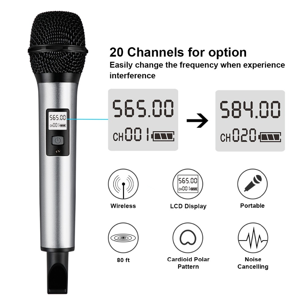 Fifine Wireless Microphone System with Portable Receiver 1/4'' Output UHF Channels Perfect for Show Stage Church, Wedding K035 2