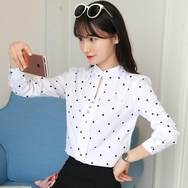 BIBOYAMALL Polka Dot White Blouse Women Tops New Fashion Casual V-neck Long Sleeve Shirt Women's OL Work Blouses Femme Blusa Top