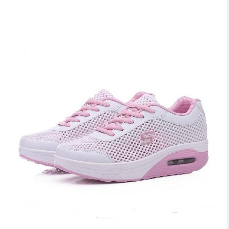 2f420644de9 Goede Koop 2018 Zomer Schoenen Vrouwen Casual Sneakers Flats Platform  Ademend Met Gat Mesh Lace up Platform Schoenen 1h14 Goedkoop