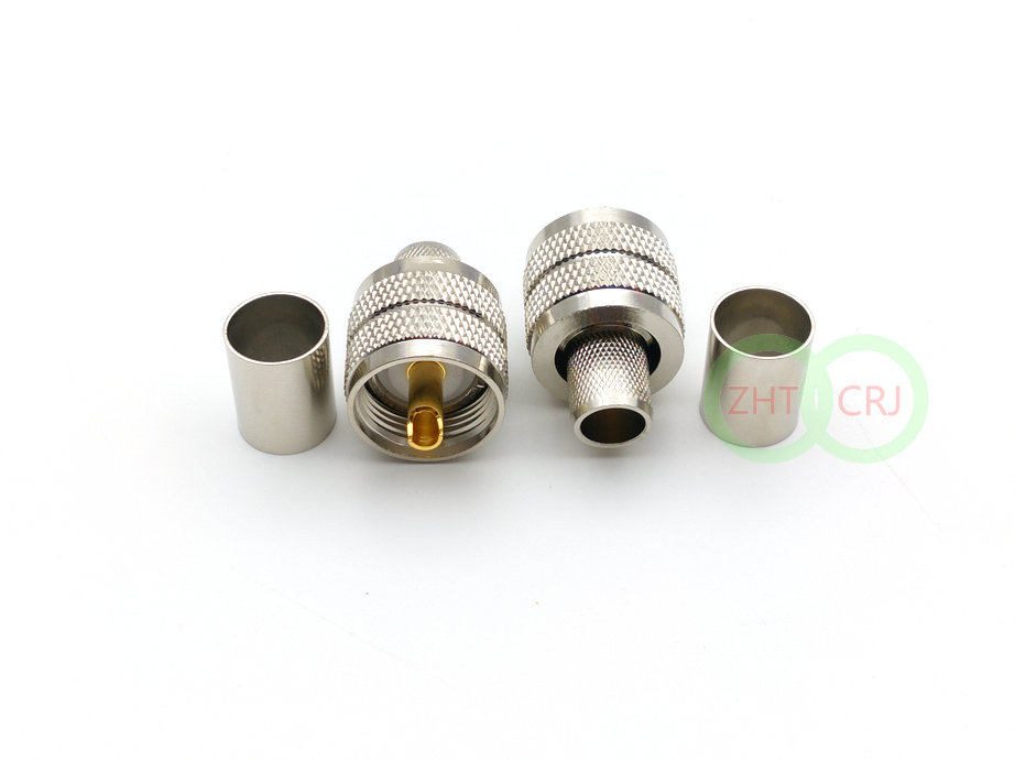 PL259 UHF Male Crimp Plug RF Connector For RG8 RG213 LMR400 Cable Adapter