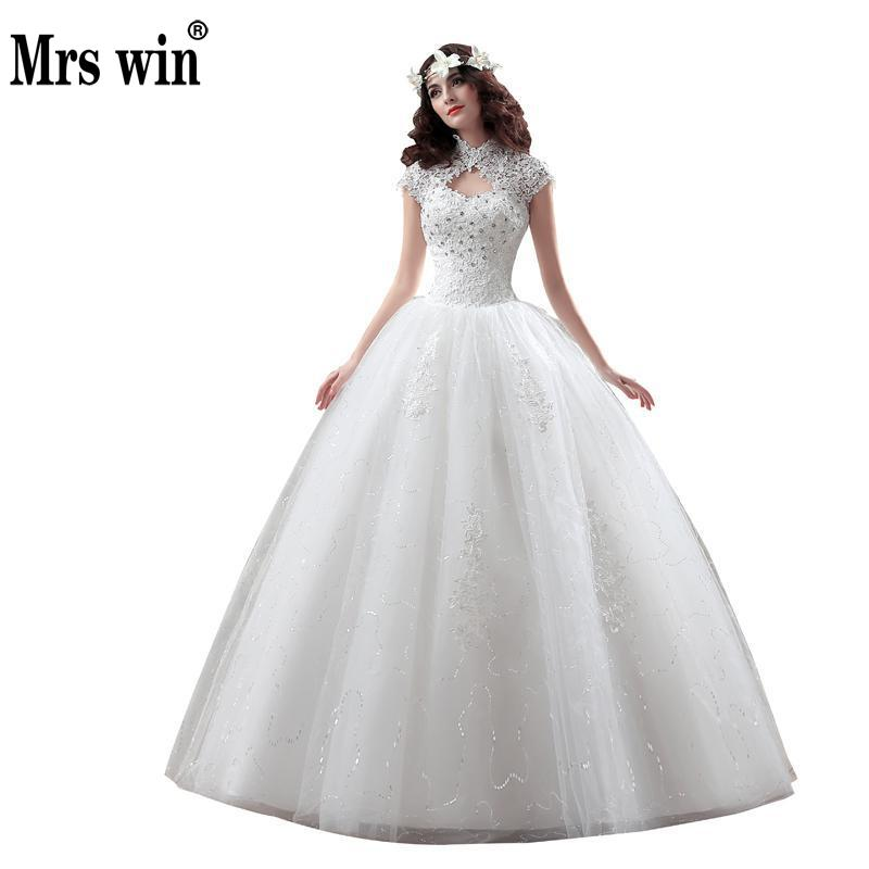New Arrive Korean Style Large Size Vintage Wedding Dress Lace Embroidery Diamond Bride Dress Custom Made Size 009