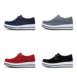 Image 4 - STQ 2020 Autumn Women Flats Female Leather Suede Platform Sneakers Shoes Women Lace Up Casual Flat Creepers Moccasins Shoes 526
