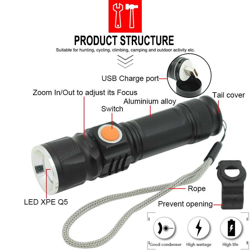 USB LED Flashlight Zoomable 3 Modes Q5 Led Flash Light Waterproof Usb Bike Torch Rechargeable Lamp 800 Lumen Outdoor Lighting
