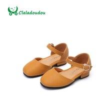 Claladoudou filles pu en cuir shoes petite fille vert pur mignon shoes princesse partie mariage en bas âge filles appartements jaune sandales