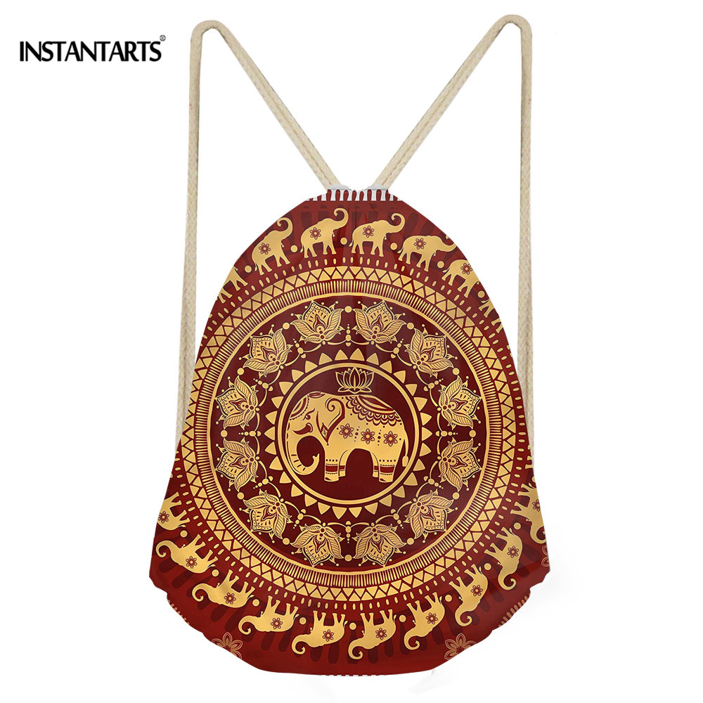 INSTANTARTS Women Casual Drawstring Bag 3D Elephants Print Fashion Sack Bag Mandala Floral Men Backpack Beach Travel Cinch Sack