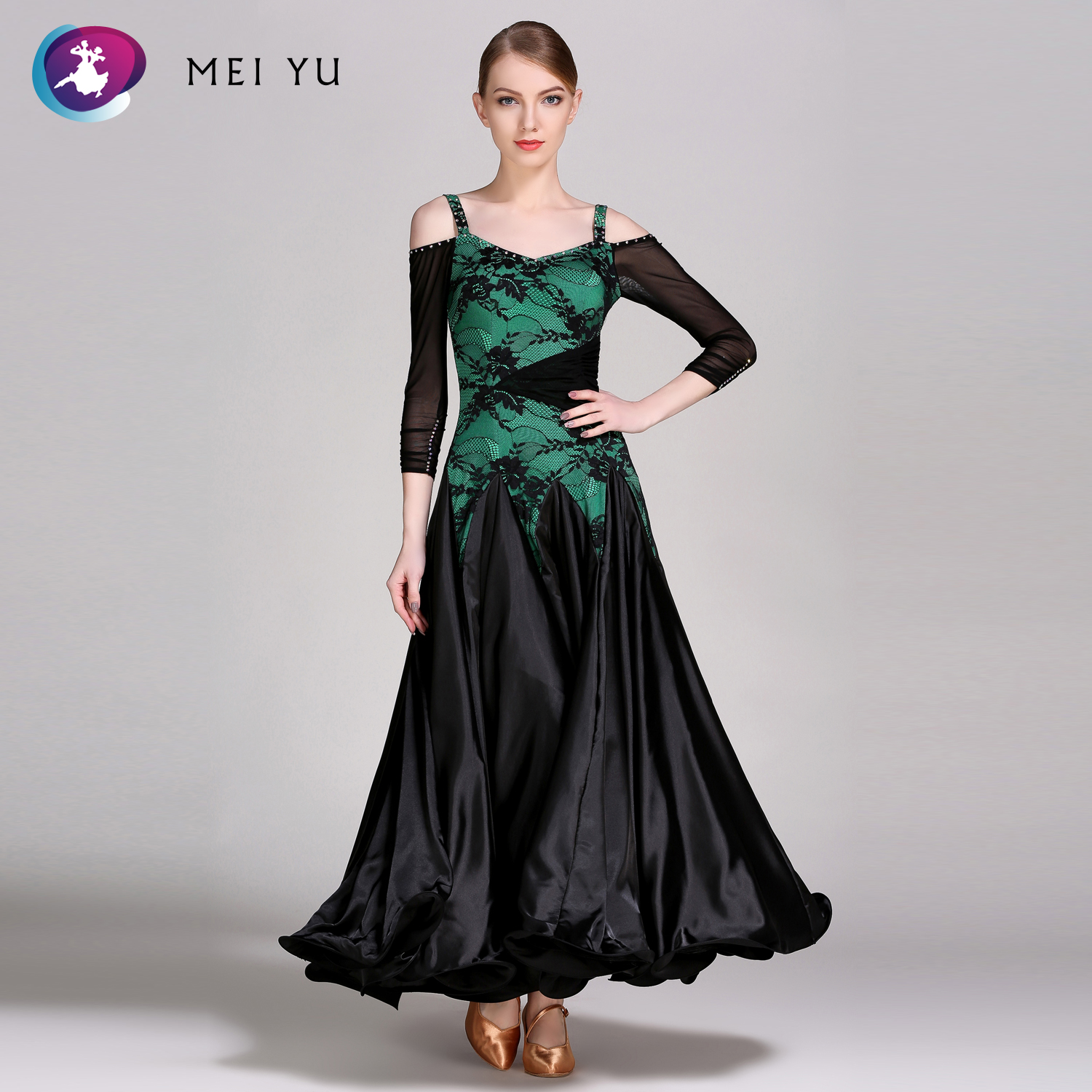 MEI YU 302 Modern Dance Costume Women Ladies Rhinestone Waltzing Tango Dancing Dress Ballroom Costume Evening Party Dress