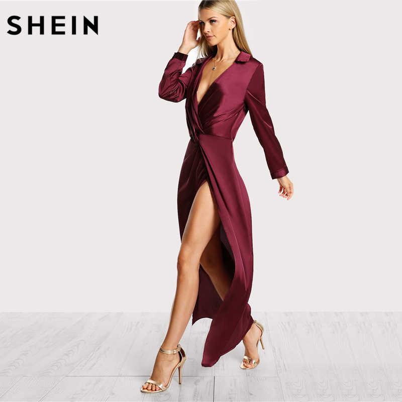 SHEIN Borgogna Sexy Vestito Da Partito Del Raso Torsione Anteriore Wrap Dress Risvolto Profondo Scollo A V A Maniche Lunghe Split Maxi Vestito Dalla Camicia